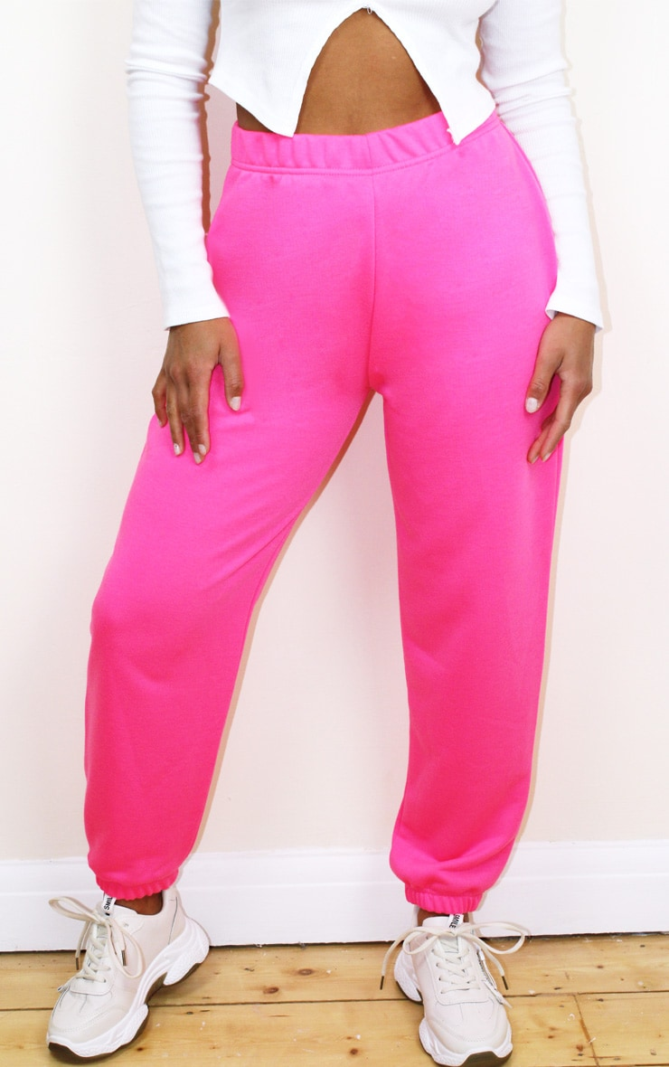 Petite Basic Hot Pink Cuffed Hem Joggers 2