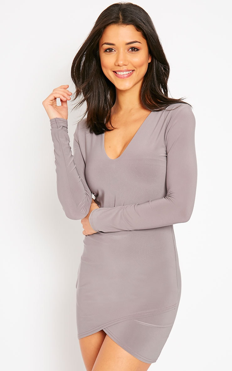 Tamika Taupe Slinky Plunge Mini Dress 1