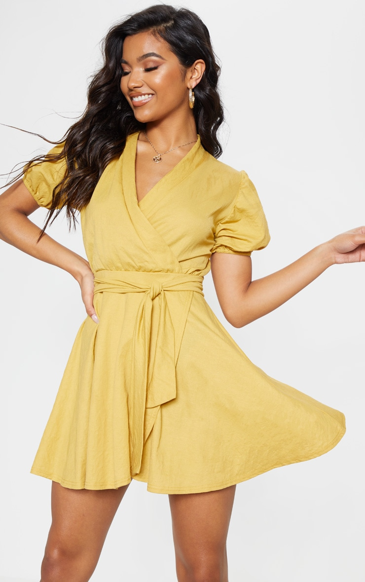 Mustard Puff Sleeve Waist Tie Skater Dress 1