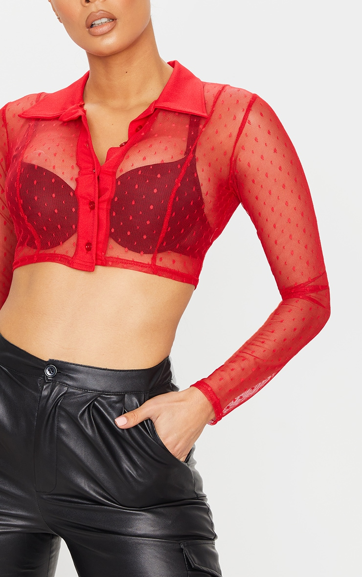 Red Dobby Mesh Cropped Shirt 4