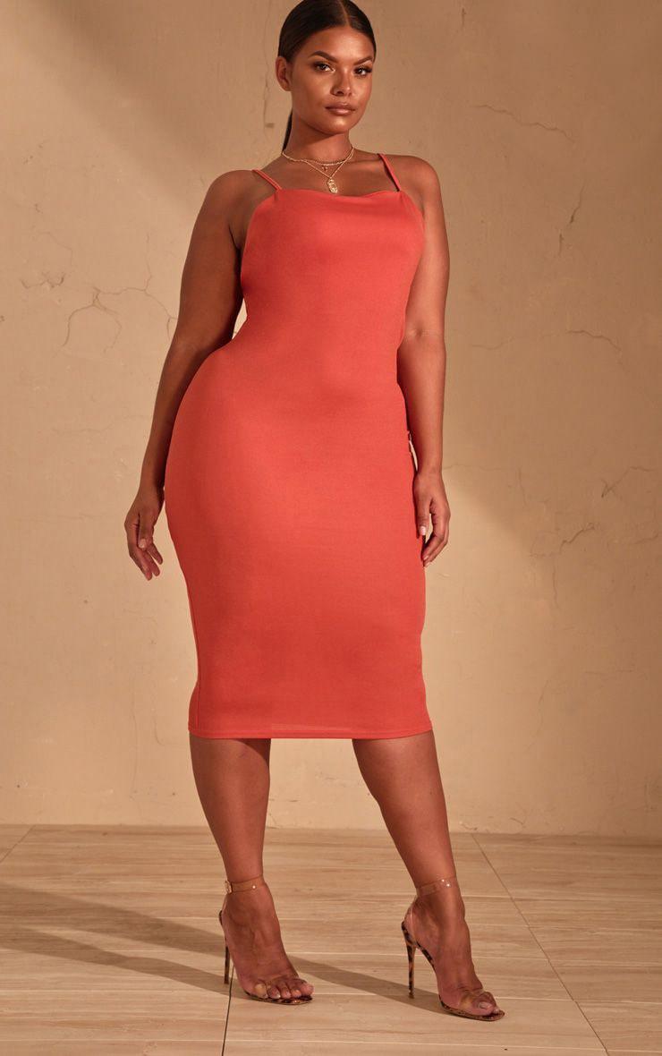 Plus Auburn Strappy Midi Dress 1