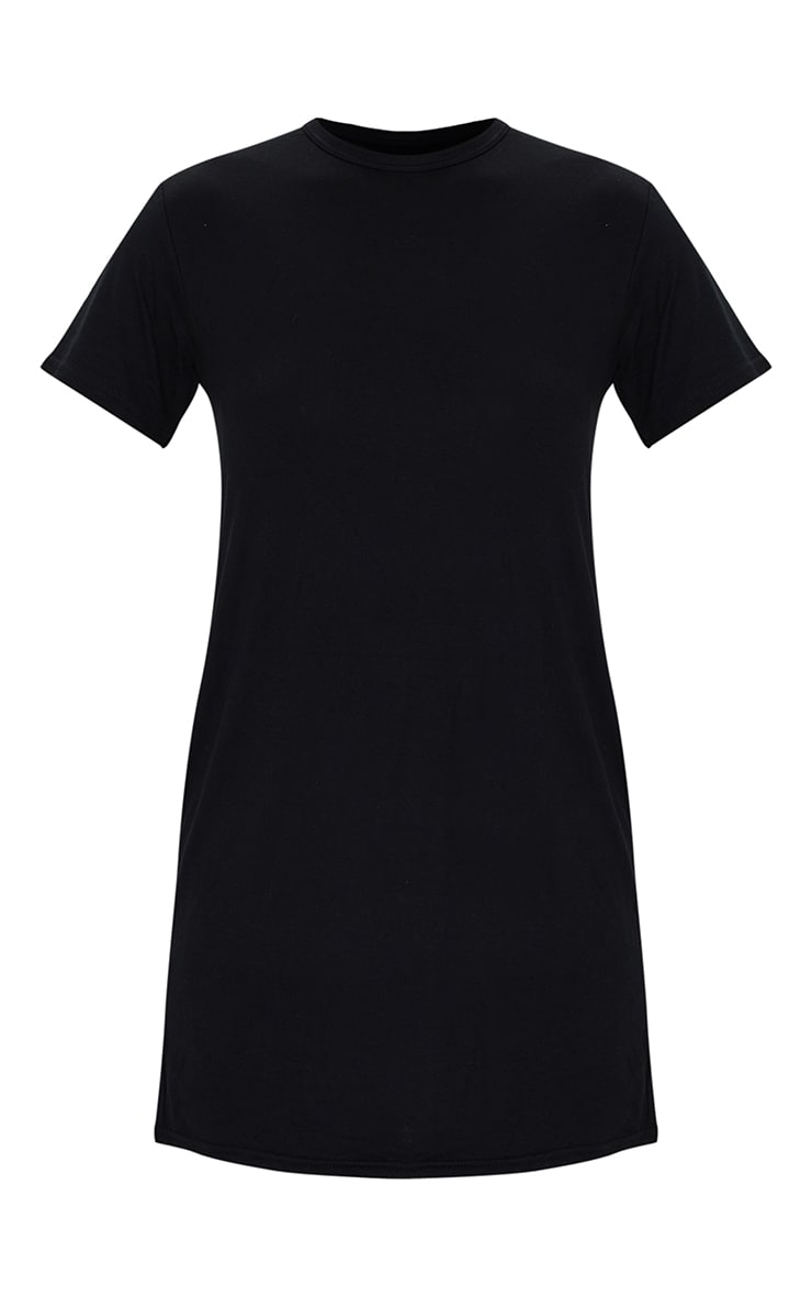 Black Basic Short Sleeve Round Neck T Shirt Dress 5