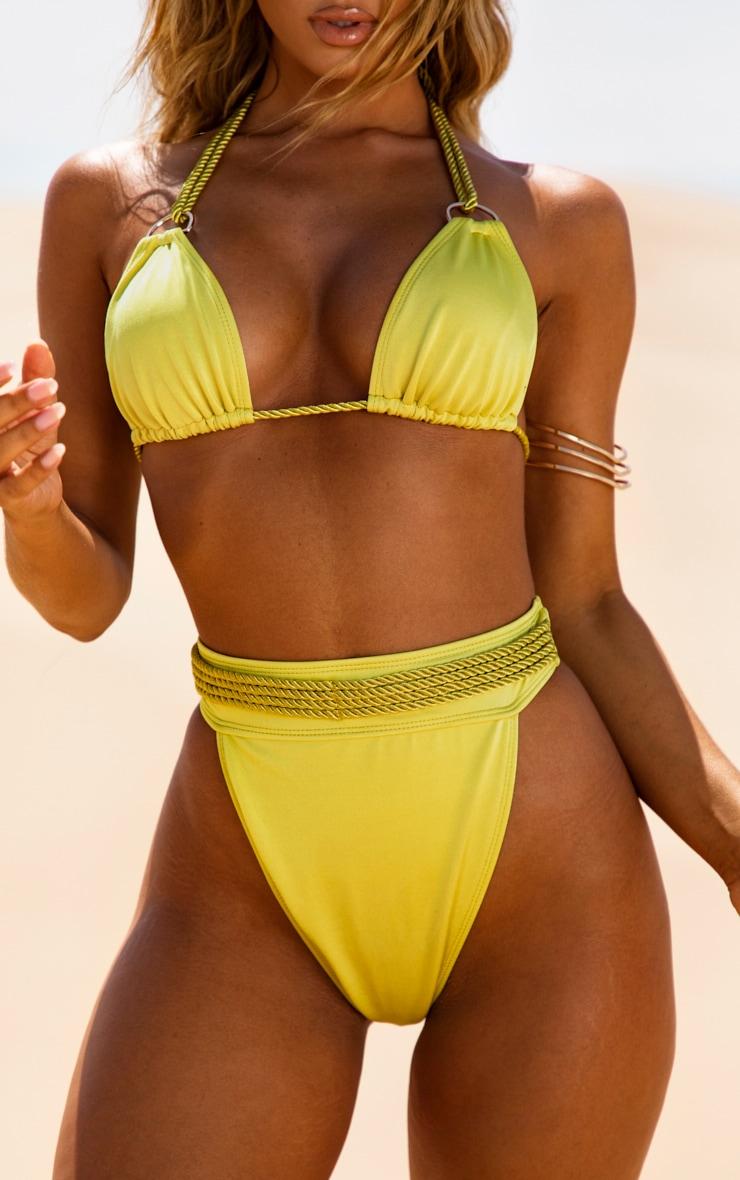 Olive Strappy Rope Bikini Bottom 1