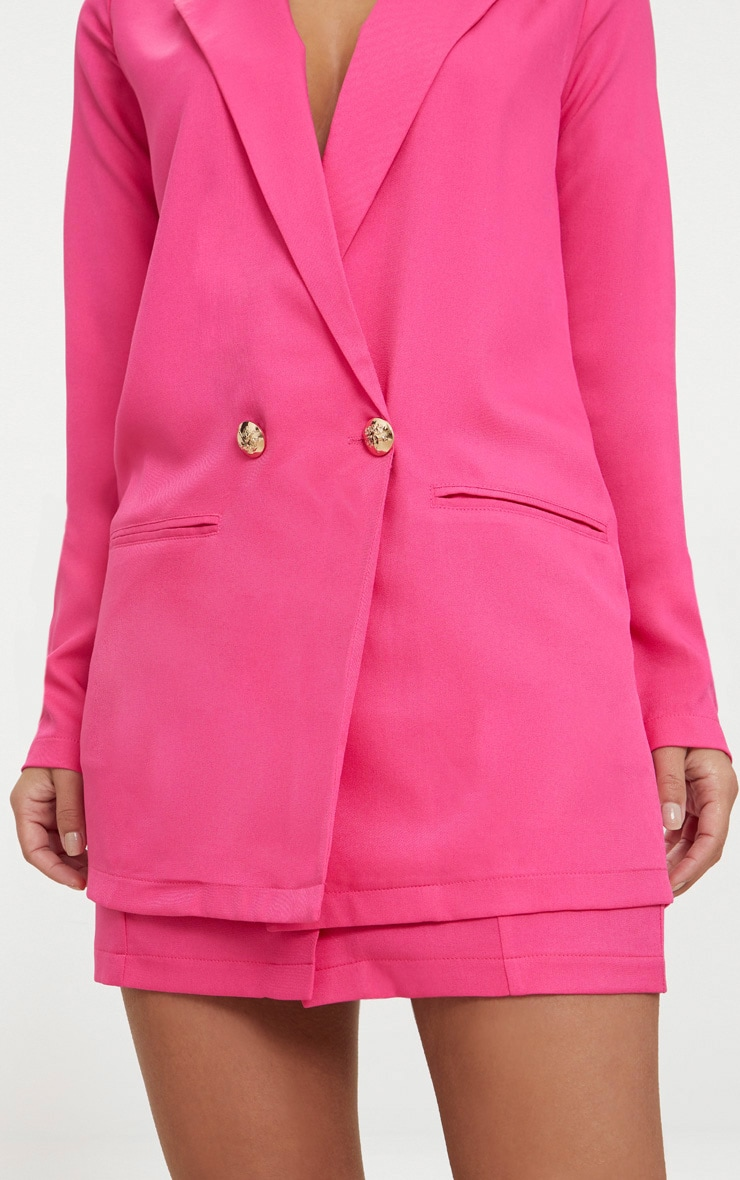 Petite Hot Pink Button Detail Blazer 5