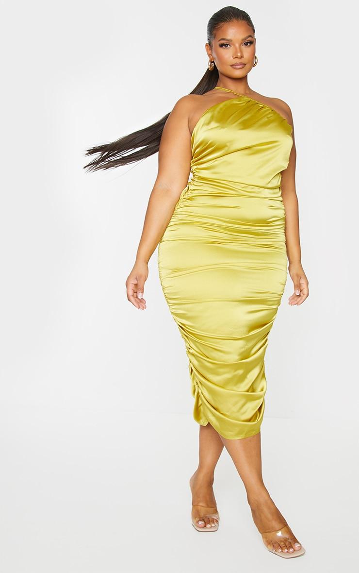 Plus Chartreuse Satin One Shoulder Midi Dress 3