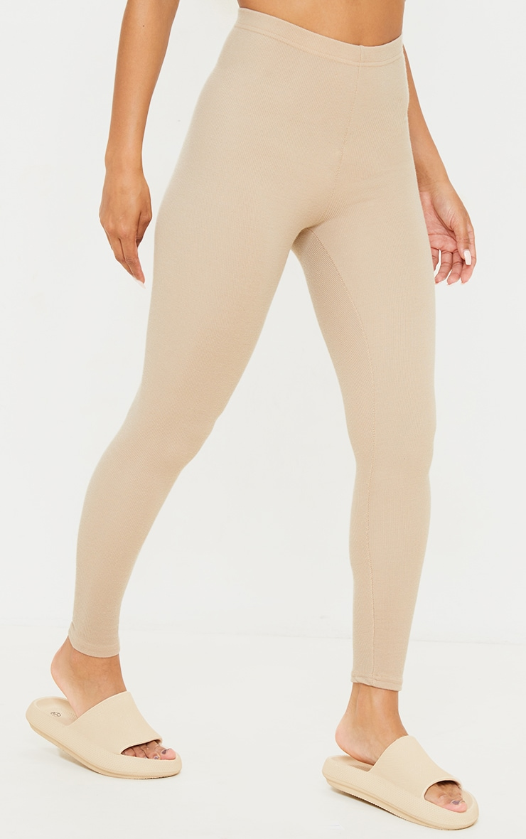 Light Brown Crinkle Rib Leggings 2