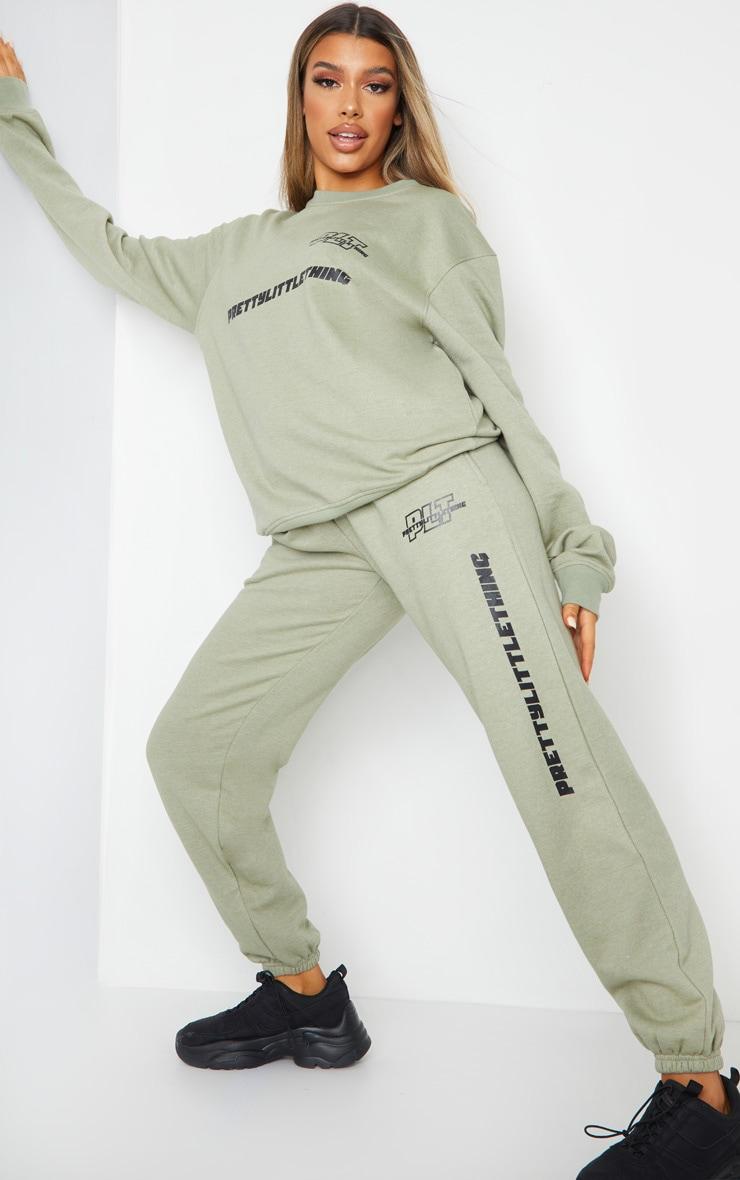PRETTYLITTLETHING - Jogging vert sauge à logo et slogan 1