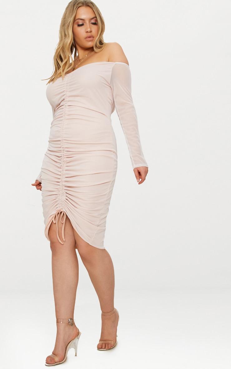 Plus Nude Mesh Ruched Bardot Midi Dress 1