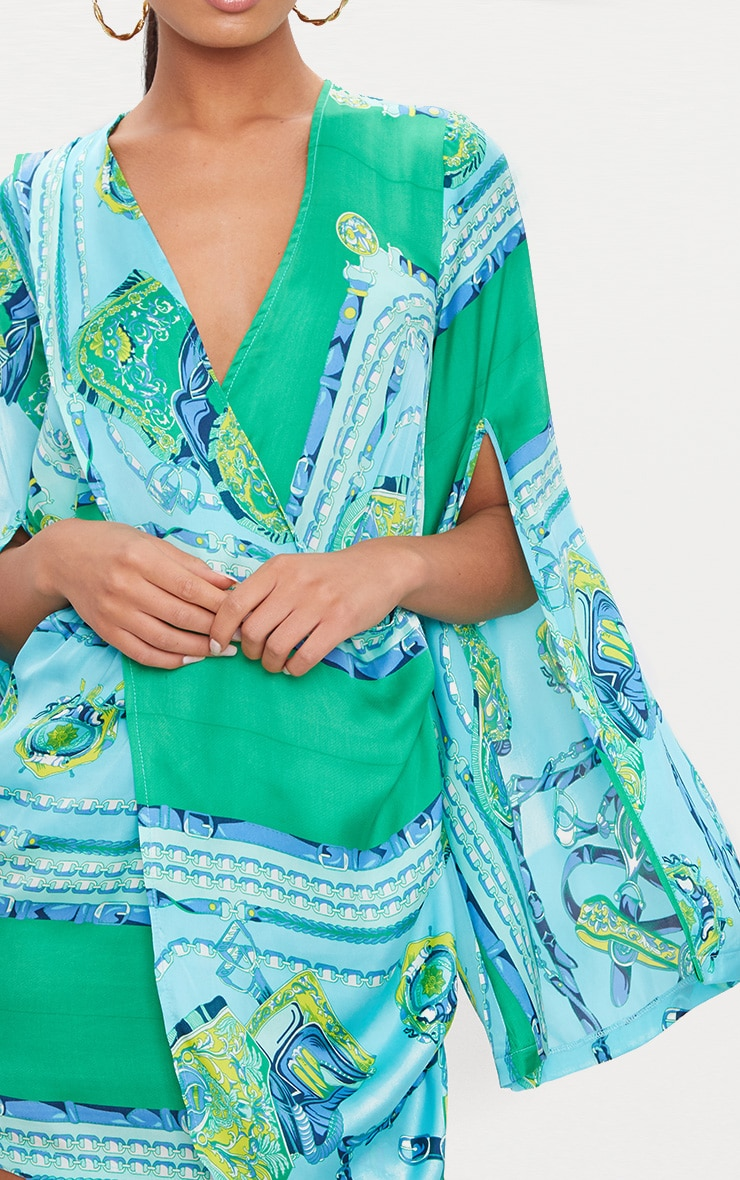 Turquoise  Scarf Print Flared Sleeve Wrap Bodycon Dress 5