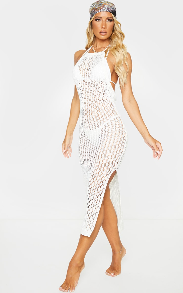 Cream Halterneck Crochet Side Split Midi Dress 3