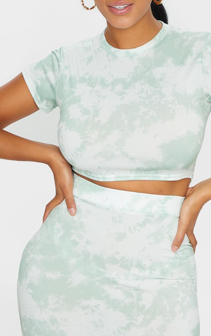 Shape Sage Green Tie Dye Short Sleeve Crop Top 4