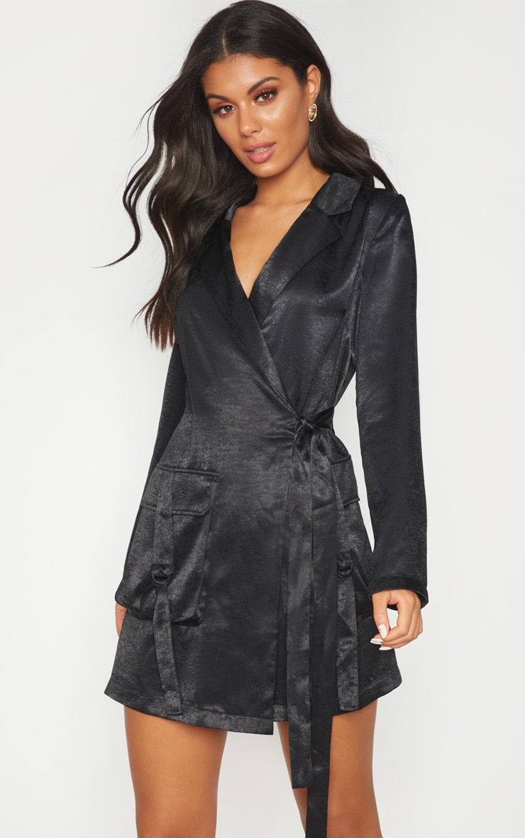 Black Satin Utility Blazer Dress