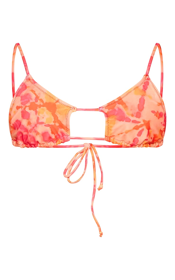 Pink Tie Dye Cut Out Tie Bikini Top 5