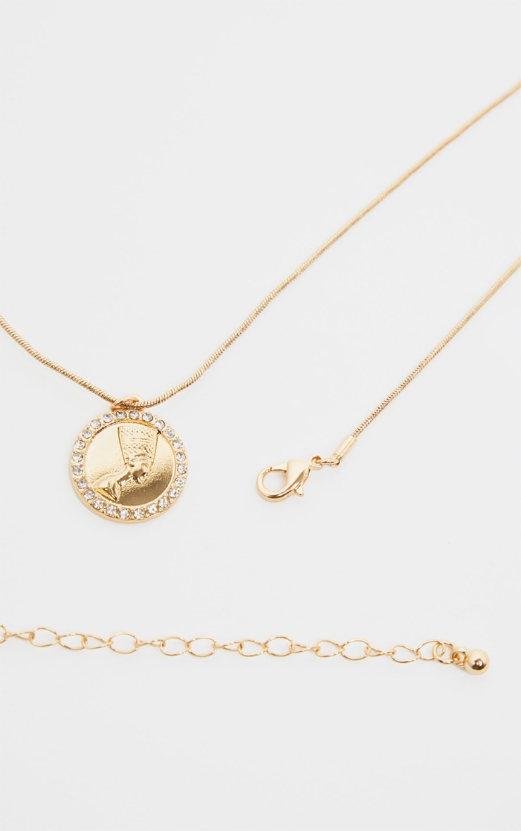 Gold Diamante Nefertiti Coin Necklace 1