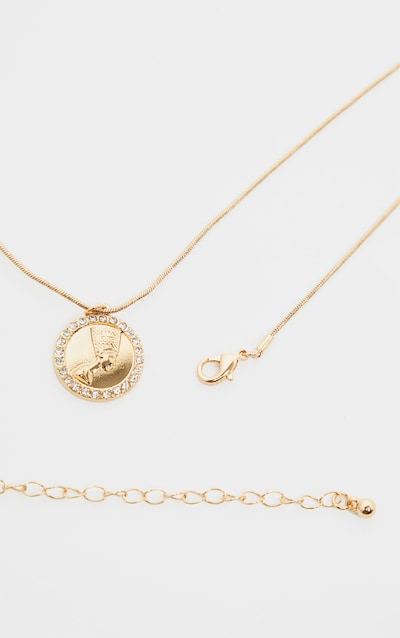 Gold Diamante Nefertiti Coin Necklace
