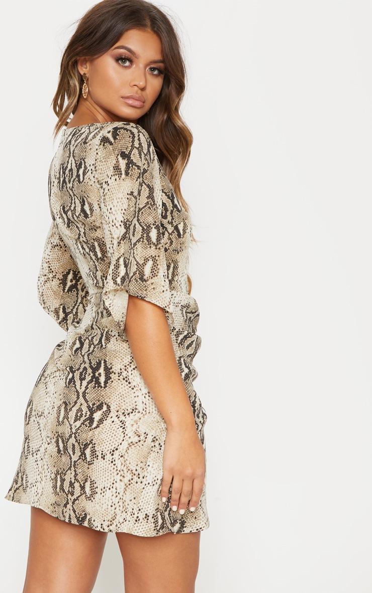 Beige Chiffon Snake Print V Neck Ruched Front Dress 2