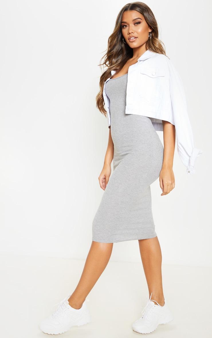 Grey Brushed Rib Square Neck Midi Dress 4