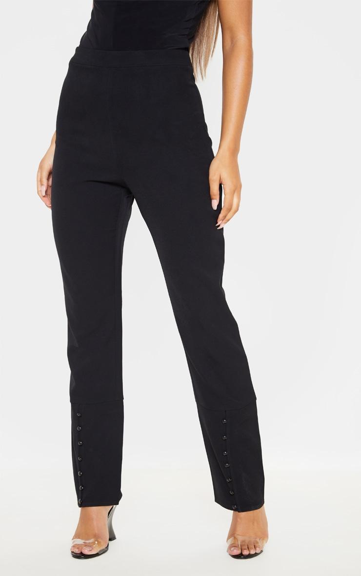Black Woven Button Cuff Detail Straight Leg Pants 2