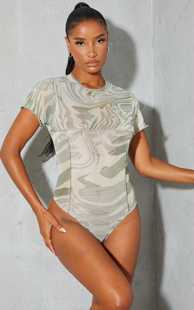 Sage Green Print High Neck Contrast Seam Short Sleeve Bodysuit 2