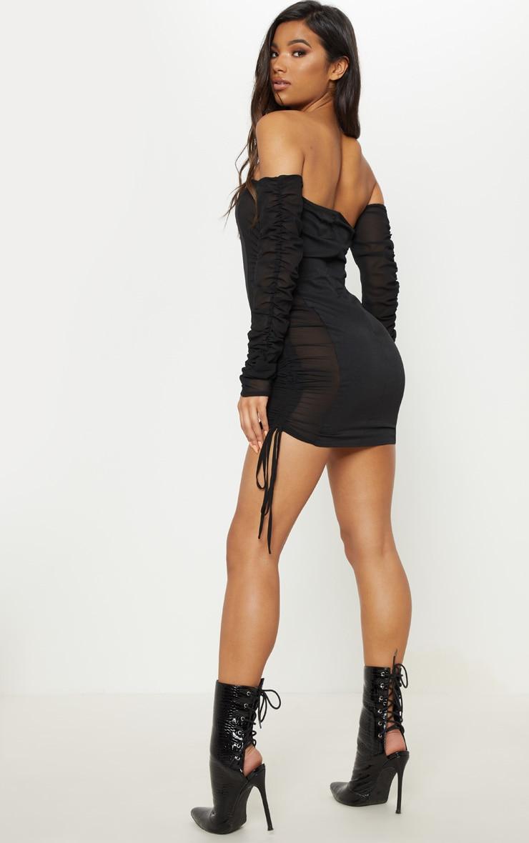 Black Bardot Ruched Mesh Insert Bodycon Dress 2