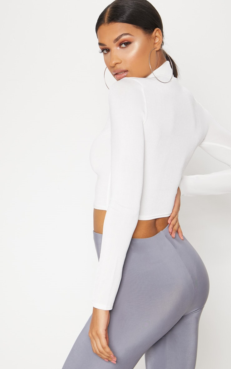 White Slinky High Neck Long Sleeve Crop Top 2