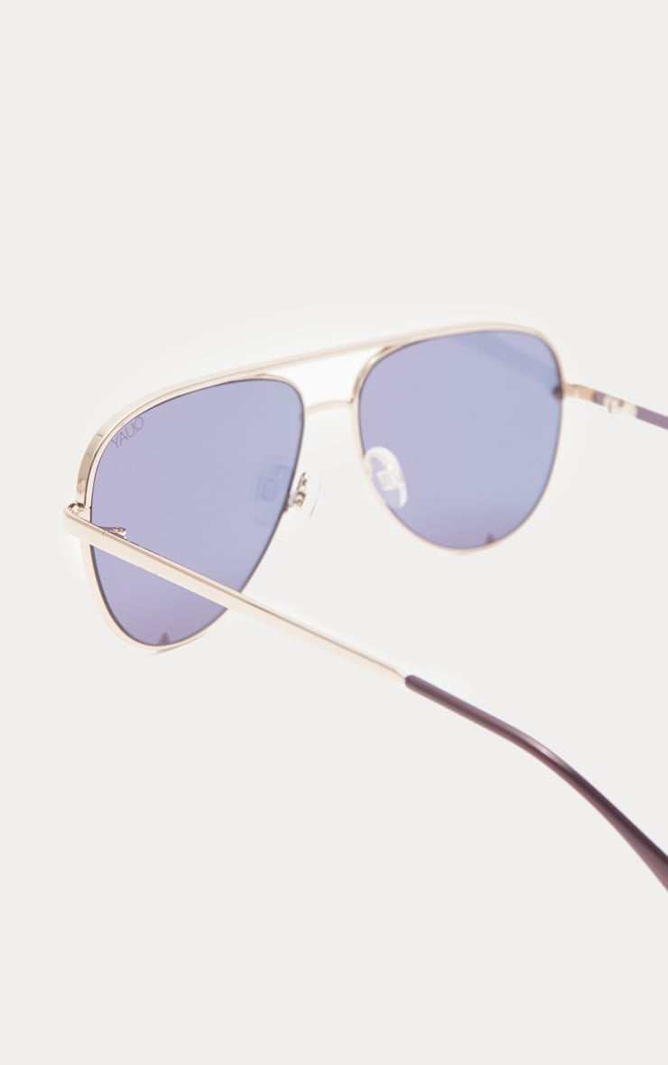 QUAY AUSTRALIA Gold X Desi High Mini Aviator Sunglasses 3