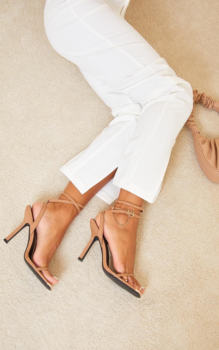 Camel Square Toe High Heel Chain Trim Sandals 2