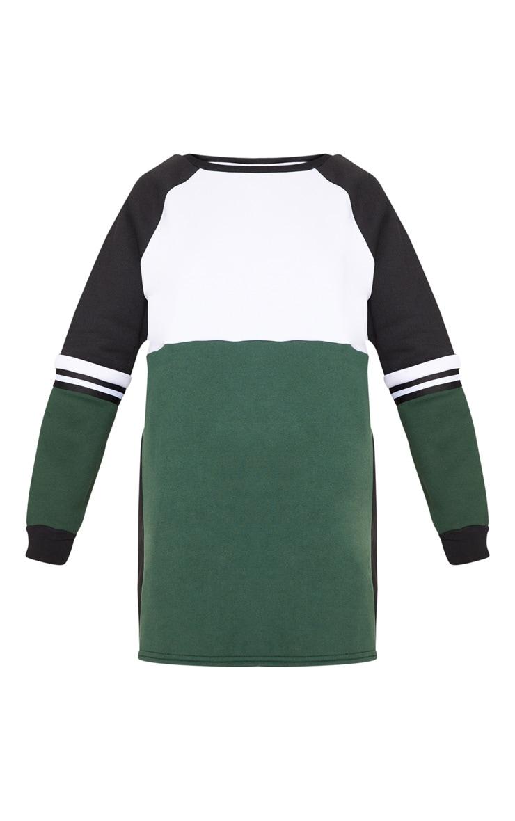 Green Colour Block Sweater Dress 3