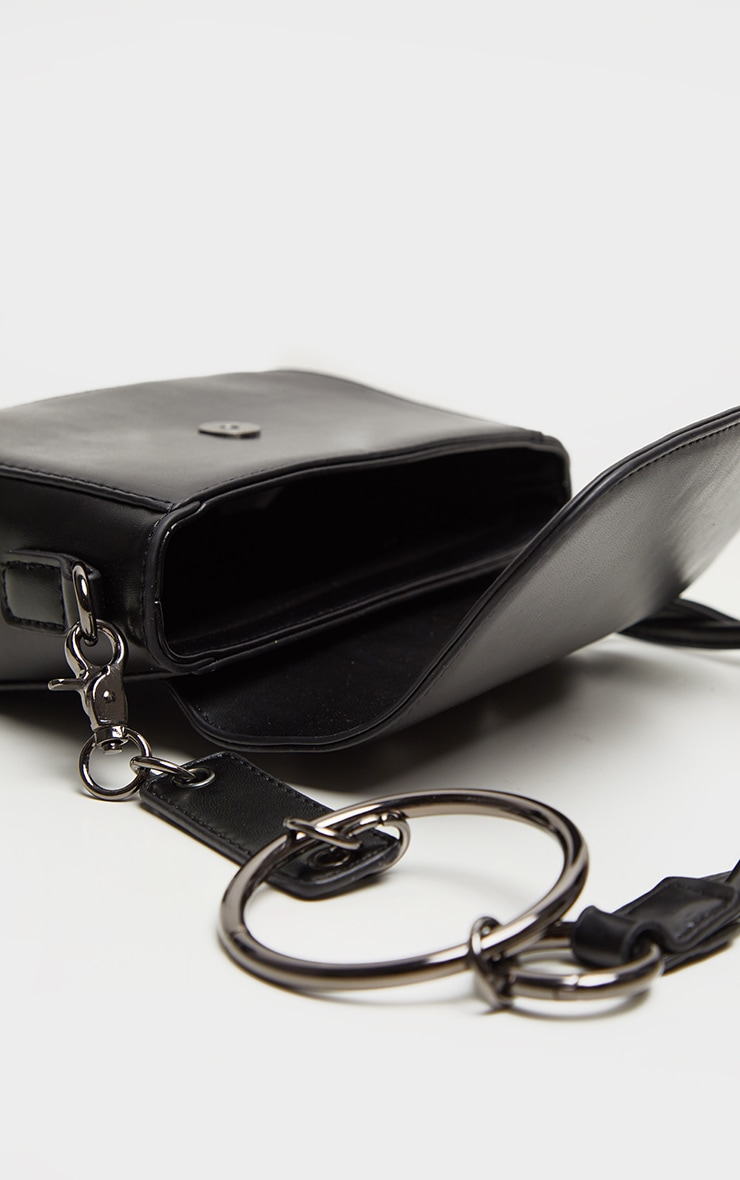Black PU Rounded Cross Body Bag 3