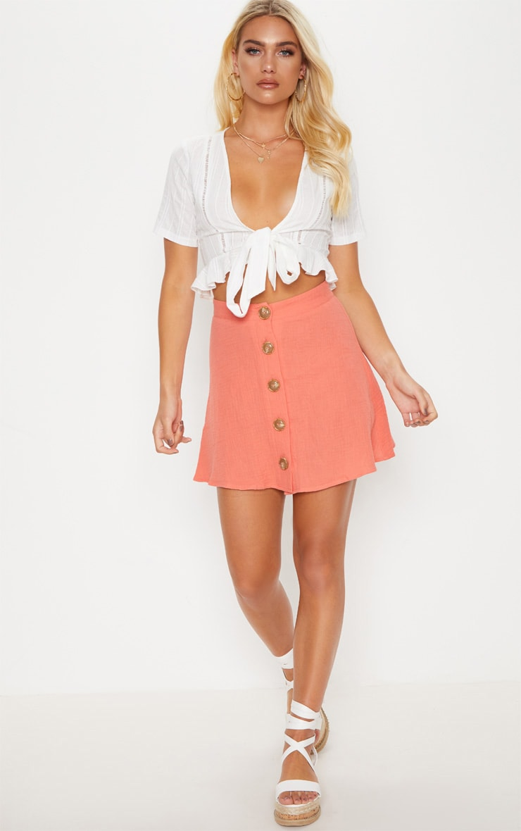 Coral Button Front Linen Feel Mini Skirt 1