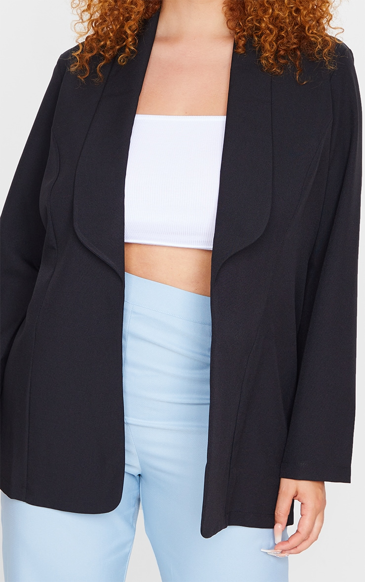 Plus Black Curved Lapel Woven Longline Blazer 4