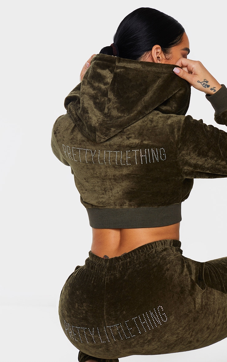 PRETTYLITTLETHING Shape Khaki Velour Extreme Crop Sweater 1