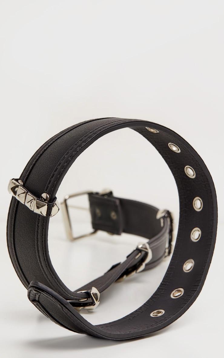 Black PU Studded Silver Loops Belt 3
