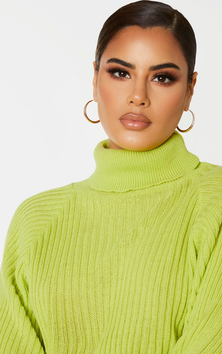 Tall Neon Green Roll Neck Cropped Knitted Sweater 5
