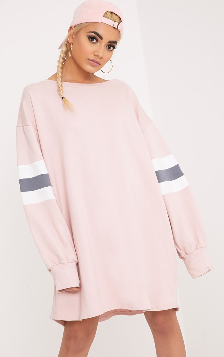 Oakley Nude Colour Block Sleeve Sweater Dress 1