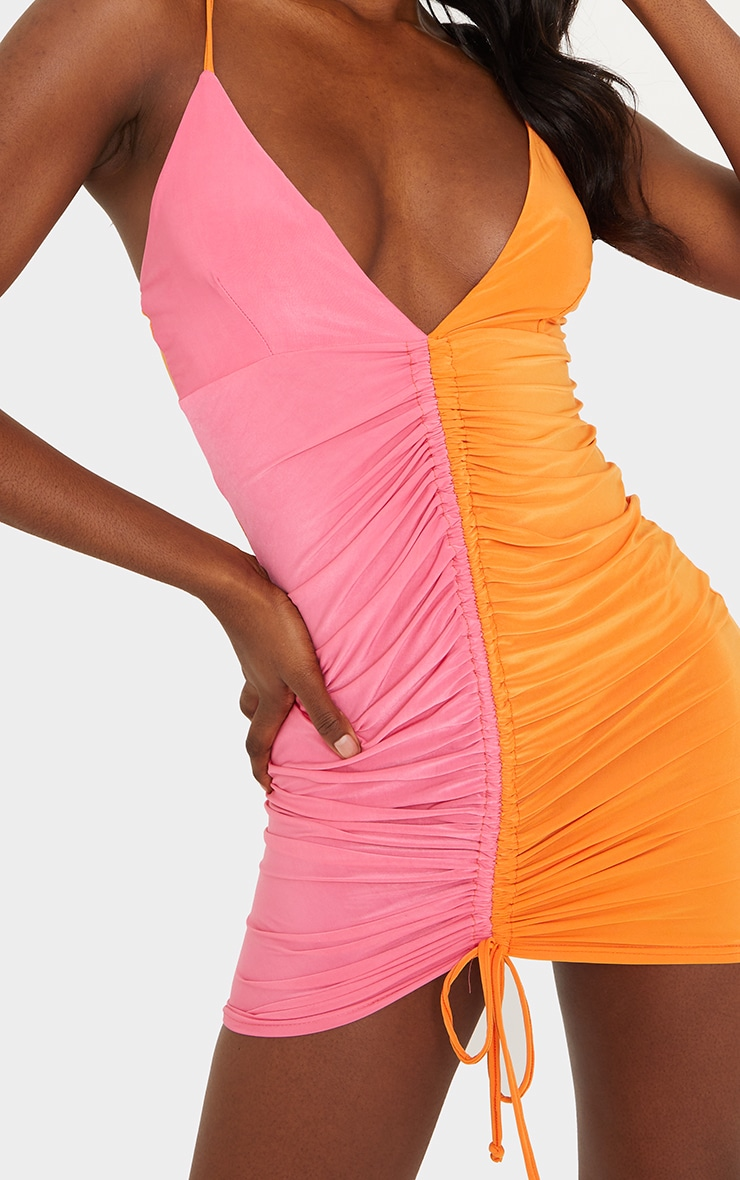 Tall Orange Contrast Slinky Ruched Strappy Mini Dress 4