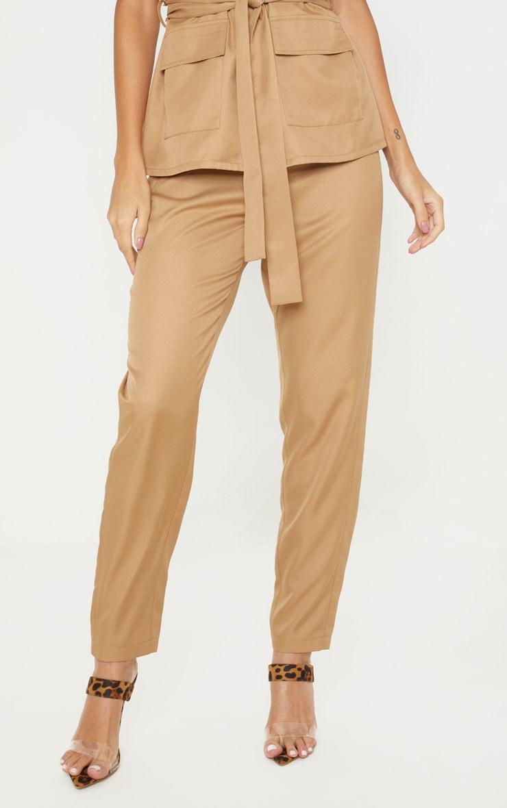 Camel High Waisted Straight Leg Trouser 2