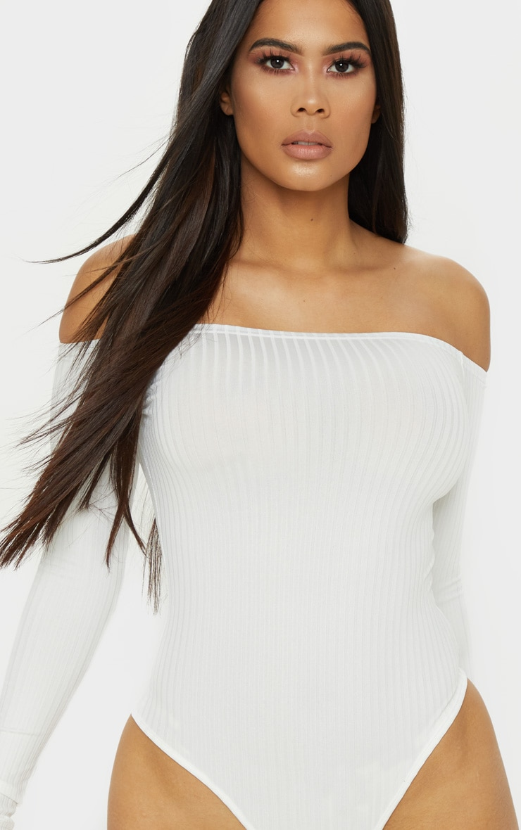 Cream Rib Bardot Long Sleeve Bodysuit 6