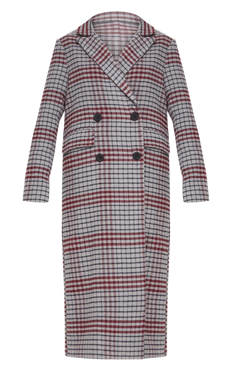 Grey Check Maxi Coat  3