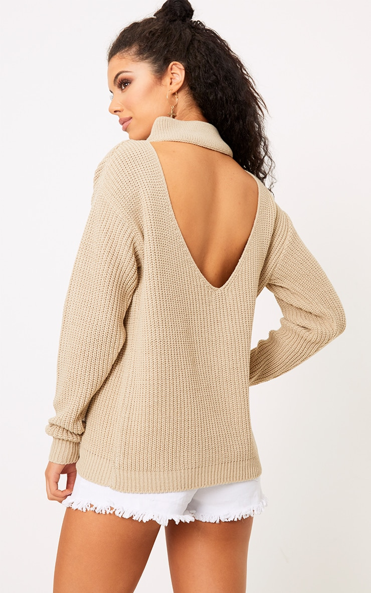 Shawnette Stone Cut Out Back Knitted Jumper 1