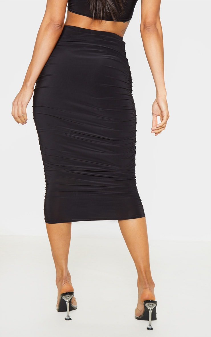 Black Slinky Second Skin Ruched Midi Skirt 4