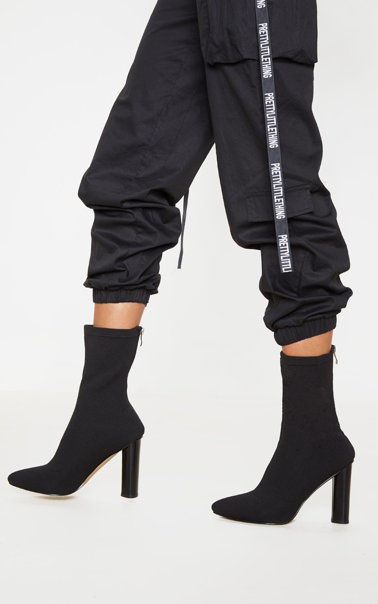 Black Woven Sock Heeled Boots  1