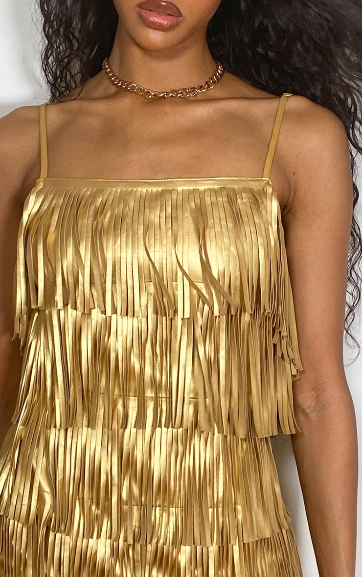 Gold Faux Leather Fringed Detail Strappy Bodycon Dress 4