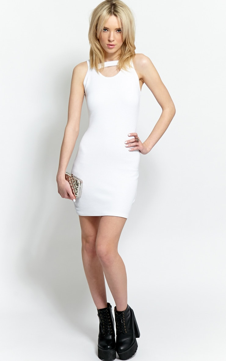 Briony White Ribbed Bodycon Dress 3