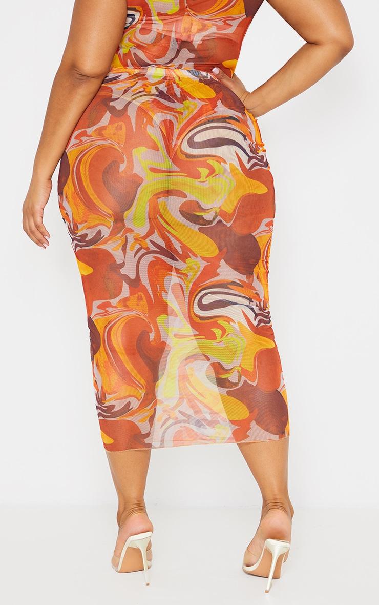 Plus Orange Marble Print Mesh Midi Skirt 3