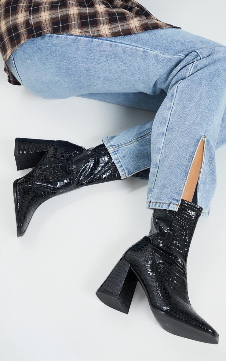 Black Croc Up Square Toe Mid Flare Block Heel Sock Boots 1