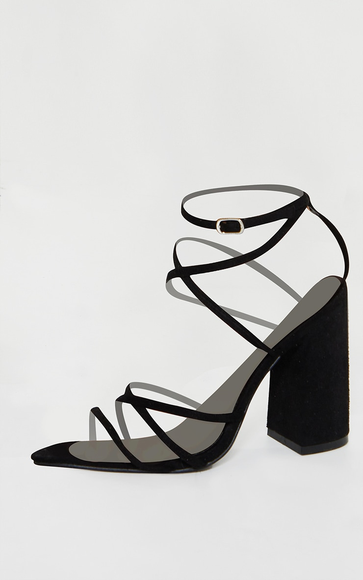 Black Faux Suede Strappy Point Toe Block Heel Sandals 4