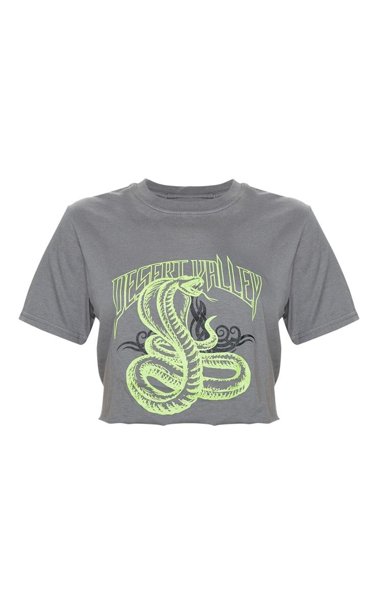 Petite Grey Snake Crop T-Shirt 3