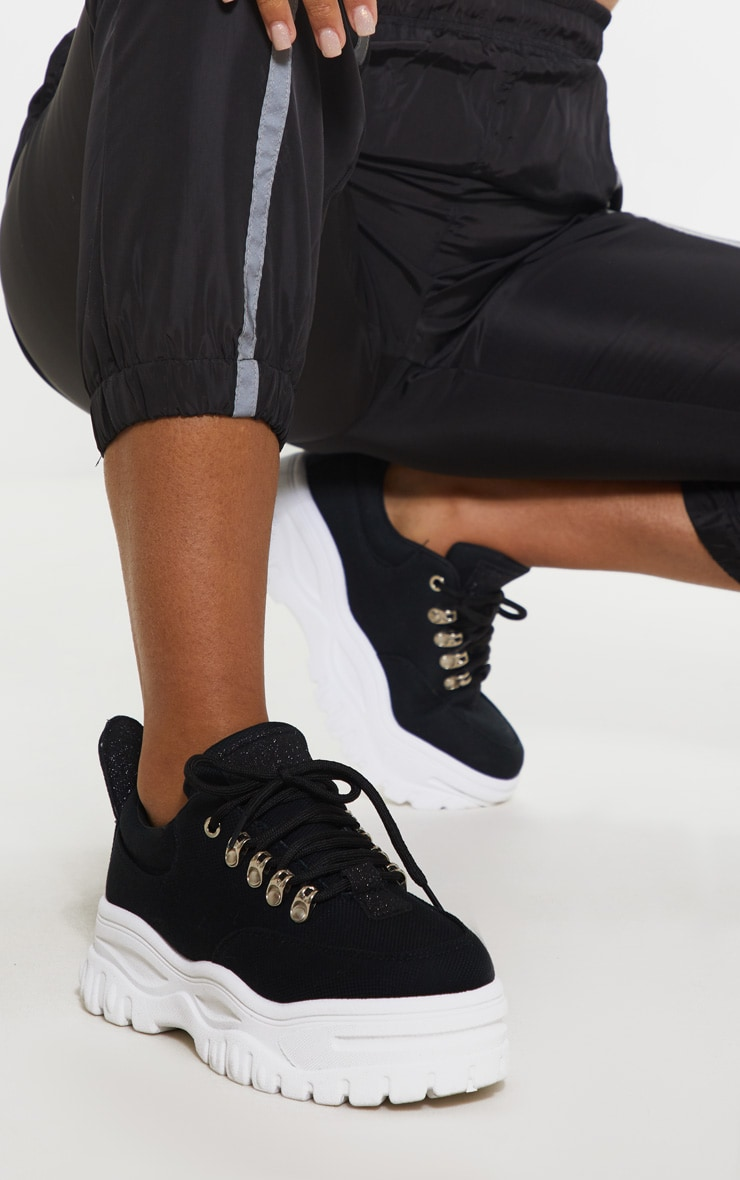 Black Flatform Chunky Hiker Trainer 1