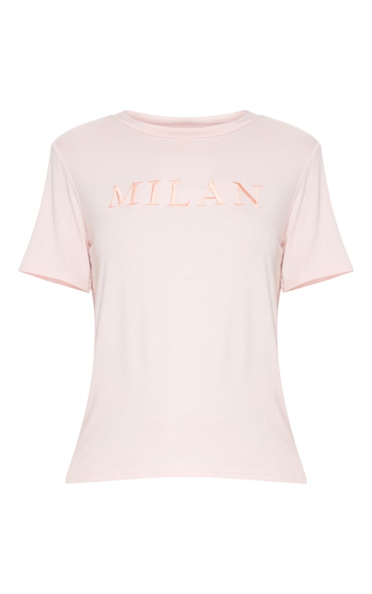 Pink Embroidered Milan Slogan T Shirt  3